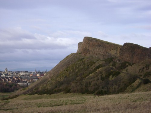 Salisbury Crags in Holyrood Park Edinburgh is one of the well known sacred sites in Scotland
