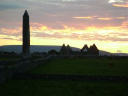 Earthwise corporate tours go to Kilmacduagh Round Tower at sunset with Earthwise