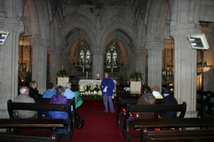 Jackie Queally giving private lecture in Rosslyn Chapel