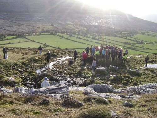 sunbeams on fulachti fia in the Burren